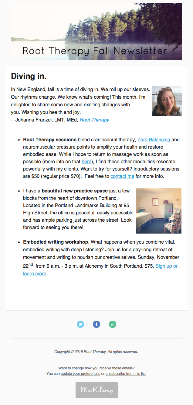 Root Therapy Fall Newsletter: New Office, NewOfferings